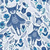 Cute blue seamless pattern with owl girl — Vector de stock