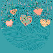 Background with hanging hearts — Wektor stockowy
