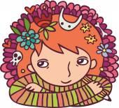 Creative girl with pencil — 图库矢量图片