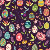 Doodle flowers and eggs purple pattern — Stock Vector