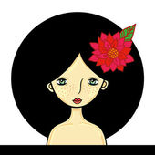 Girl with circle black hair and red flower — Stock Vector