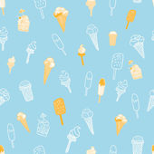 Blue seamless pattern with ice cream — Stock Vector