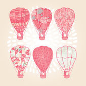 Pink patterned air balloons set — Stock Vector