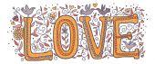 Love in orange color — Stock Vector