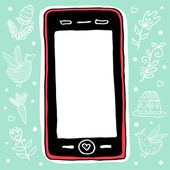 Pink smartphone on green background. — Stock Vector