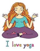 I love yoga girl — 图库矢量图片