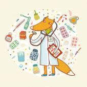 Doctor fox card — Stock Vector