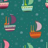 Giraffes in a boat seamless pattern — Stock Vector