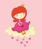 Little princess in love — Stock Vector