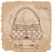 Vintage fashion background with bag and flowers — Stok Vektör