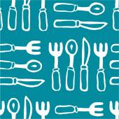 Forks and knives blue seamless pattern — Stock Vector