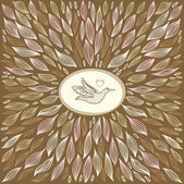 Beautiful brown abstract background with bird — 图库矢量图片