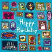 Blue birthday card with framed pictures — Wektor stockowy