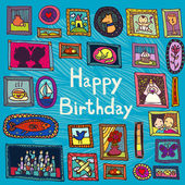 Blue birthday card with framed pictures — Vetorial Stock