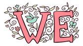 Pink word We with birds. — Stockvector