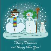 Christmas snowmen family — Stock Vector