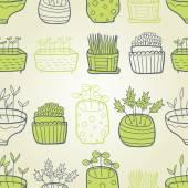 小さな庭緑のシームレス パターン — ストックベクタ