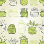 Liten trädgård gröna seamless mönster — Stockvektor