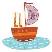 Illustration of giraffes in the boat — Stock Vector