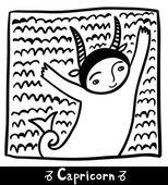 Capricorn black and white — Stock Vector