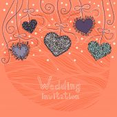 Wedding invitation with hanging hearts — Stock Vector