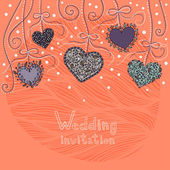 Kalpler asma düğün davetiyesi — Stok Vektör