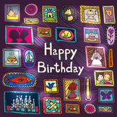 Birthday card with framed pictures — Vetorial Stock