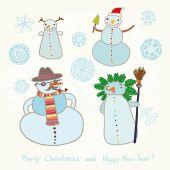 Snowmen collection — Stock Vector
