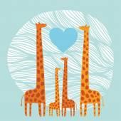 Giraffe family — Stock Vector