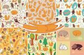 Nahtlose muster mit tieren — Stockvektor