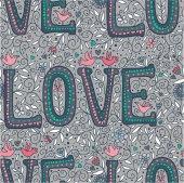 Vintage gray love seamless pattern — Stockvector