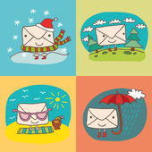 Funny parcel and seasons — Stock Vector