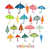 Colored umbrellas collection — Stock Vector