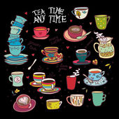 Tea time any time color collection black background — Stock Vector