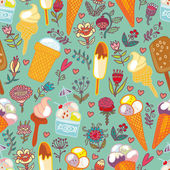 Ice cream and flowers blue seamless pattern. — Stock Vector
