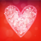 Valentine's day background with transparent hearts — 图库矢量图片