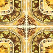 Yellow ornamental seamless ethnic pattern — Stock Vector
