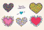 Bright cartoon hearts set — Vector de stock