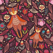 Cute seamless pattern with owl girl — Stok Vektör