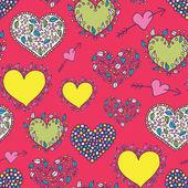 Pink cartoon hearts seamless pattern — 图库矢量图片