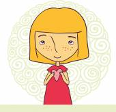 Girl with heart in pink dress — Stock Vector