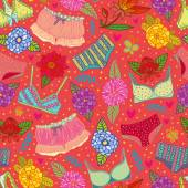 Flowers and underwear pink seamless pattern — Vector de stock