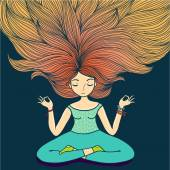 Meditation girl with long hair. — Stock Vector