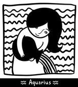 Aquarius black and white — Stock Vector