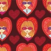 Modèle sans couture de carnaval rouge amour — Vecteur