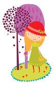 Girl in Red Hat walks in the woods. — Stock Vector