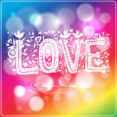 Rainbow love on blurred background — Stock Vector