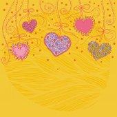 Heart decoration festive bright yellow background — Wektor stockowy