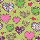 Cartoon hearts green seamless pattern — Wektor stockowy
