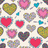 Bright cartoon hearts seamless pattern — Wektor stockowy